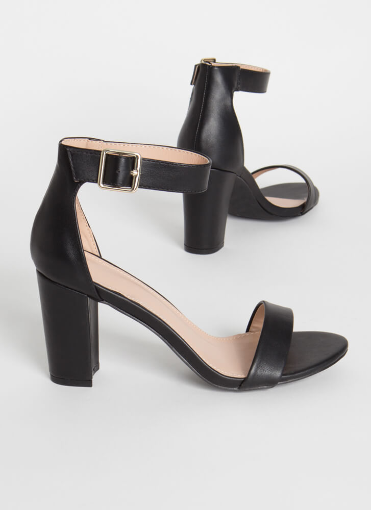 Simple Things Chunky Faux Leather Heels BLACK