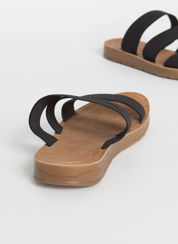 Three Guesses Banded Slide Sandals BLACK