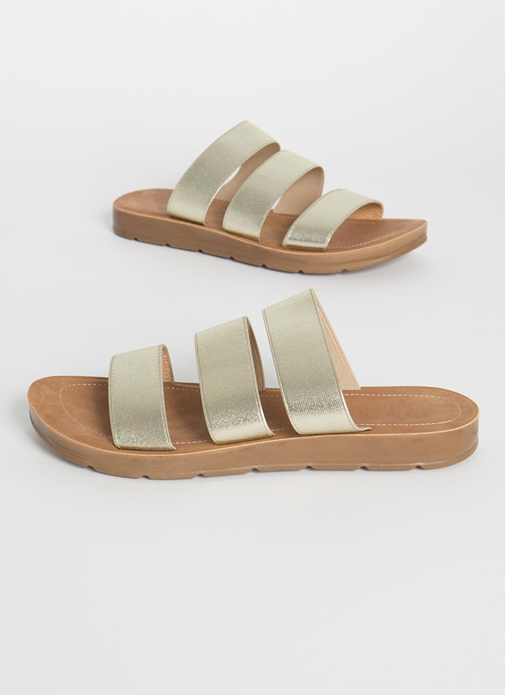 Three Guesses Banded Slide Sandals CHAMPAGNE