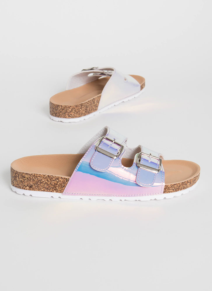 Go Ahead Holographic Slide Sandals HOLOGRAM