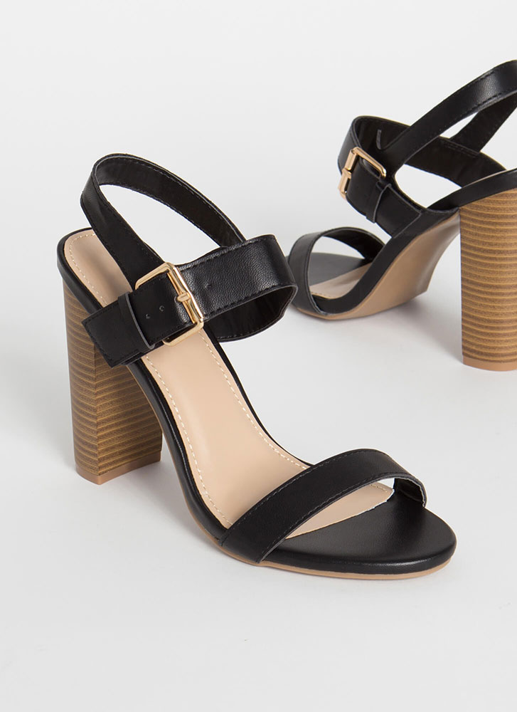Out And About Strappy Chunky Heels BLACK