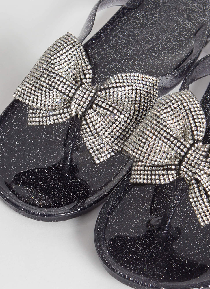 Bow Big Or Go Home Jeweled Thong Sandals BLACK