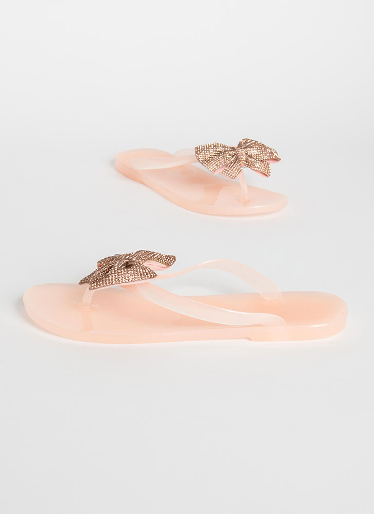 Bow Big Or Go Home Jeweled Thong Sandals NUDE