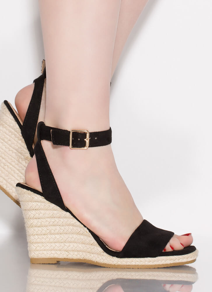 Vacation Home Espadrille Wedges BLACK