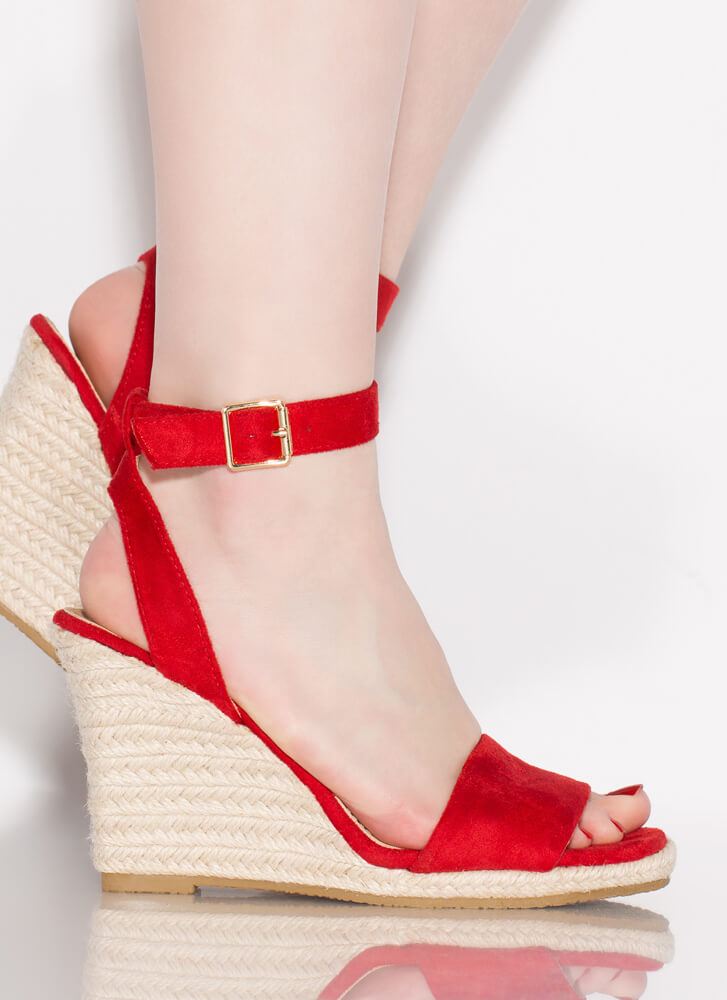 Vacation Home Espadrille Wedges RED