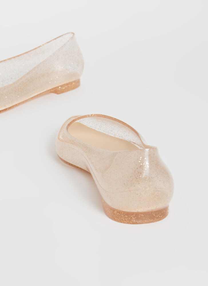 Cinderella Story Clear PVC Ballet Flats NUDE