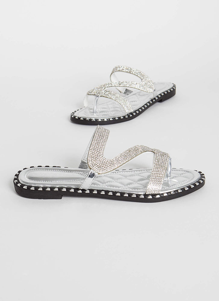 Special Slide Jeweled Metallic Sandals SILVER