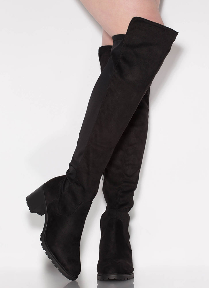 Best In Show Faux Suede Thigh-High Boots BLACK