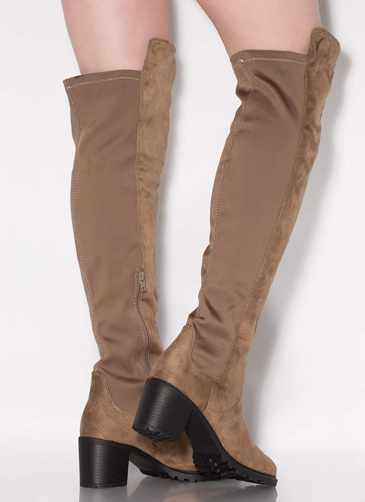 Best In Show Faux Suede Thigh-High Boots TAUPE