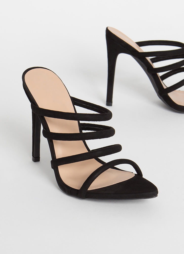 Made Four You Strappy Pointy Heels BLACK