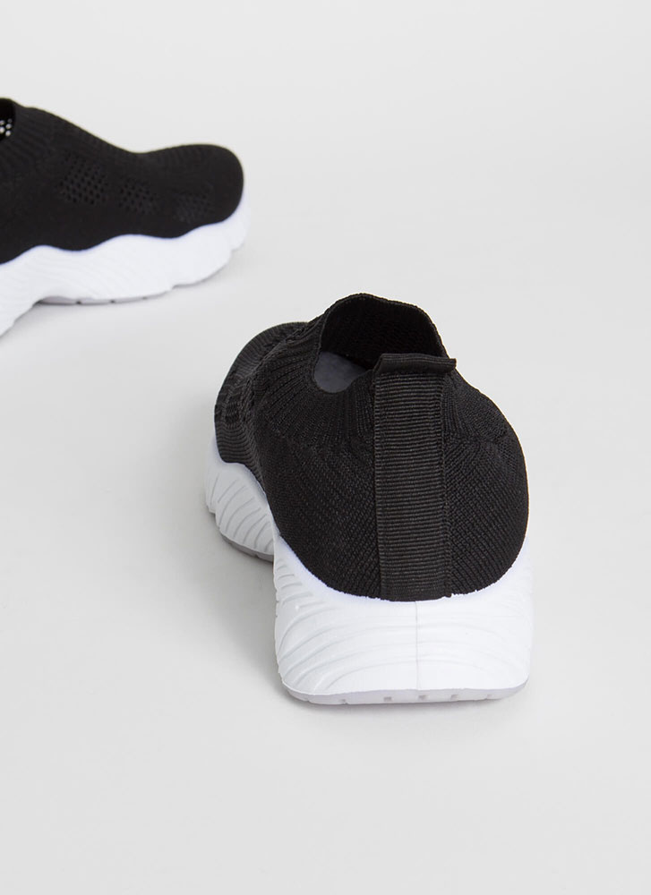 Perfect Form Slip-On Knit Sneakers BLACK