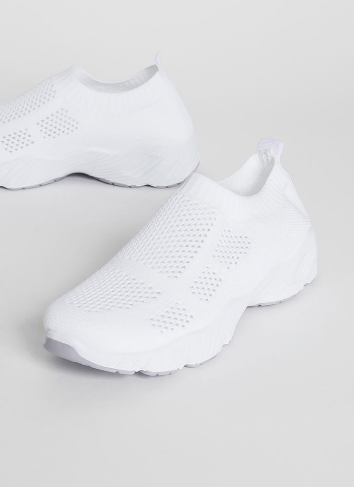 Perfect Form Slip-On Knit Sneakers WHITE