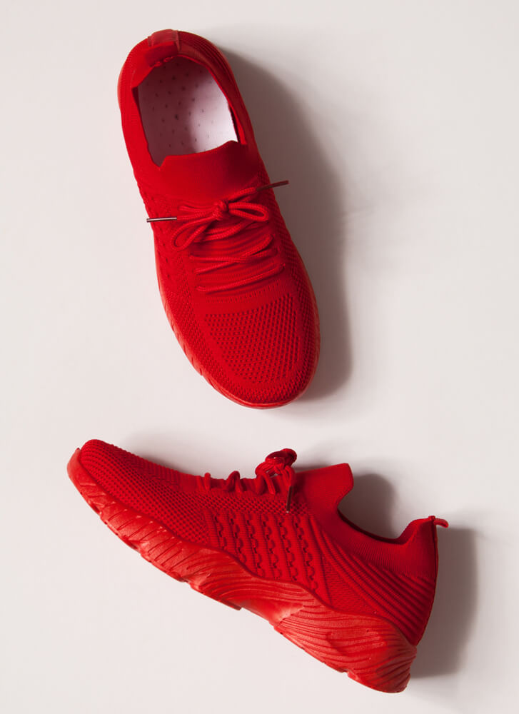 Perfect Form Lace-Up Knit Sneakers RED