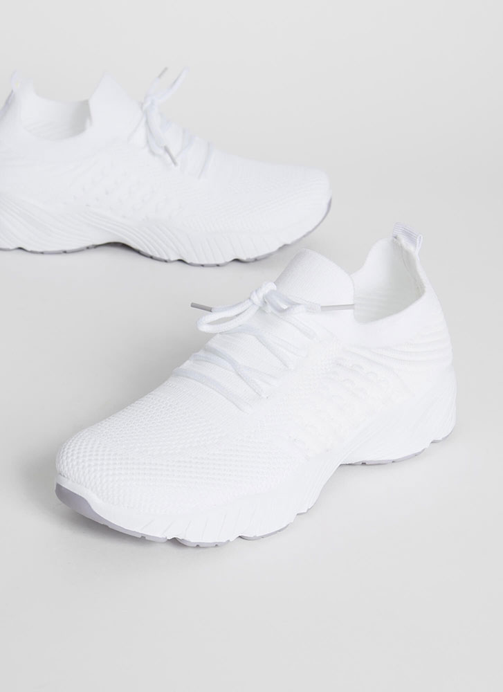 Perfect Form Lace-Up Knit Sneakers WHITE