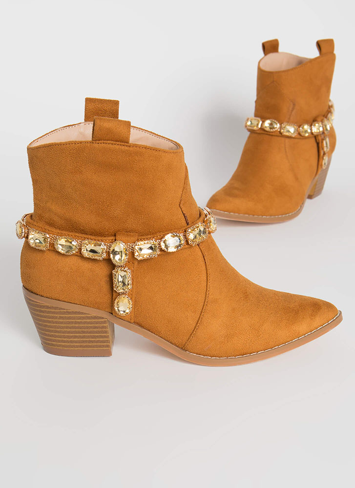 Gemstone Cowgirl Strappy Jeweled Booties TAN