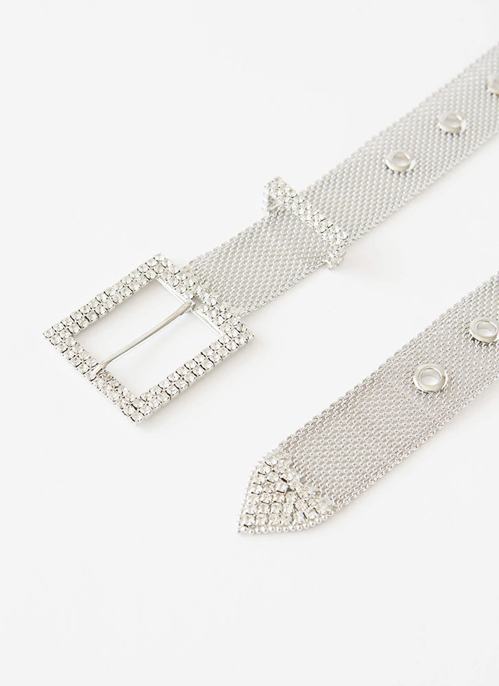 Sparkly-Pants Jeweled Chainmail Belt SILVER
