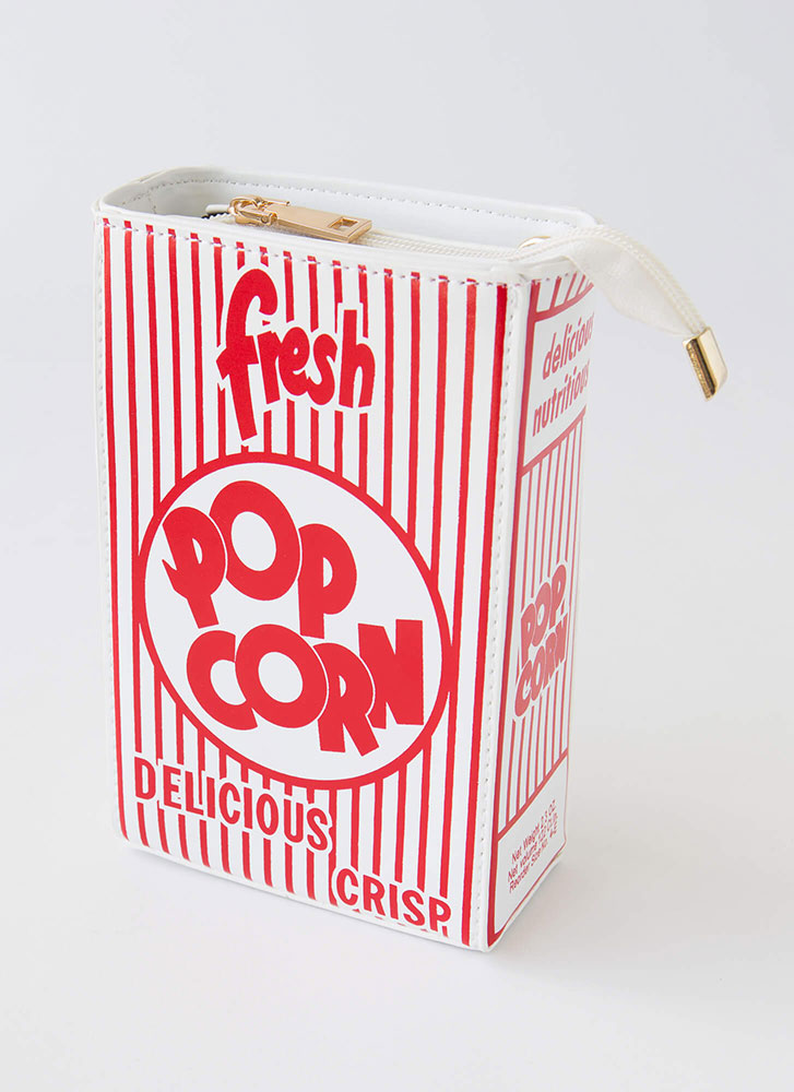 Pass The Popcorn Novelty Box Clutch RED