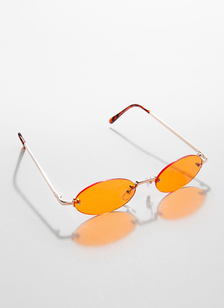 All Oval The Place Frameless Sunglasses ORANGE