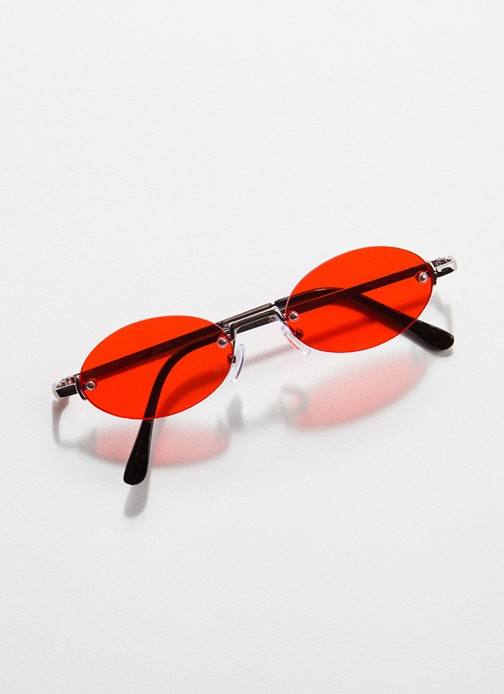 All Oval The Place Frameless Sunglasses RED