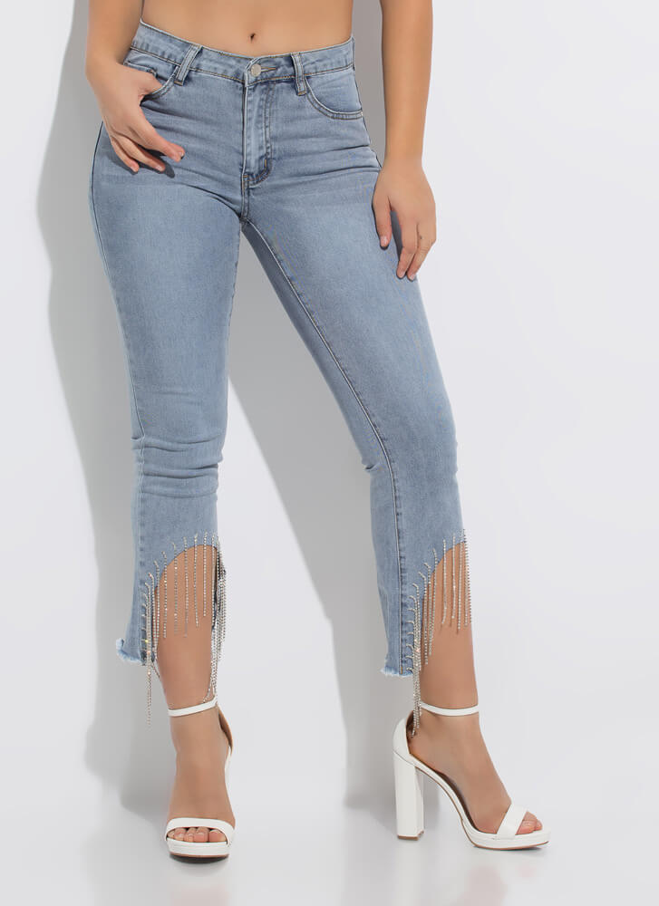 Flare For Fringe Jeweled Cut-Off Jeans MEDBLUE