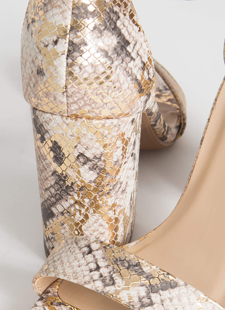 Just The Thing Chunky Snake Print Heels SNAKE