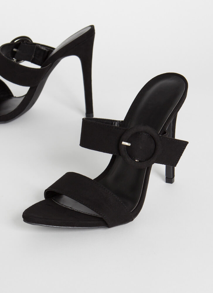 Better Buckled Pointy Faux Suede Heels BLACK