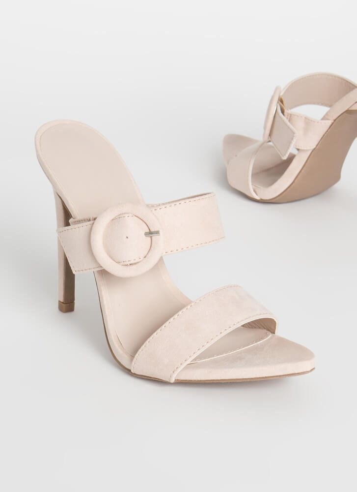 Better Buckled Pointy Faux Suede Heels NUDE