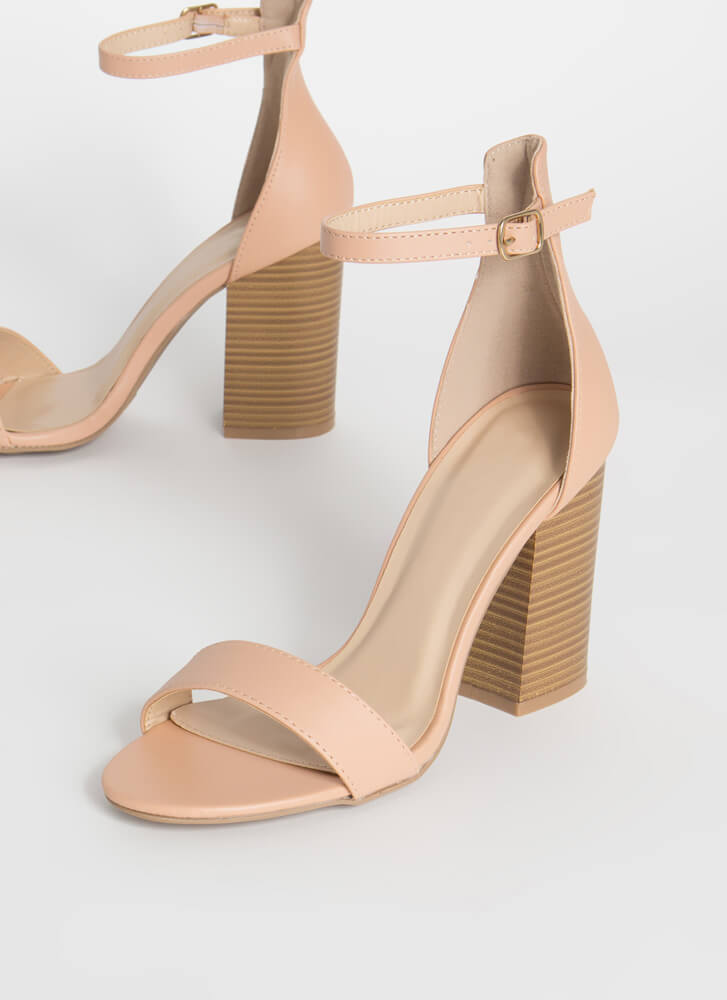 Everyday Life Chunky Ankle Strap Heels ALMOND