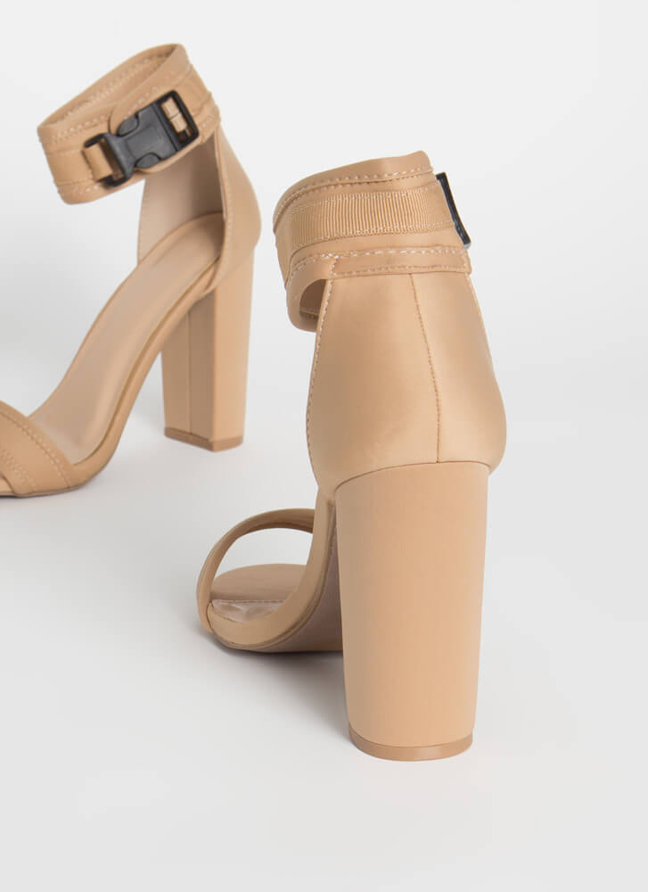 Catch And Release Chunky Buckled Heels NATURAL