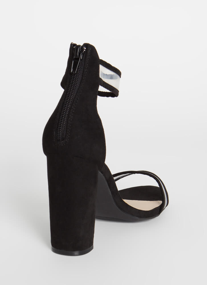 Clearly Beloved Piped Trim Chunky Heels BLACK