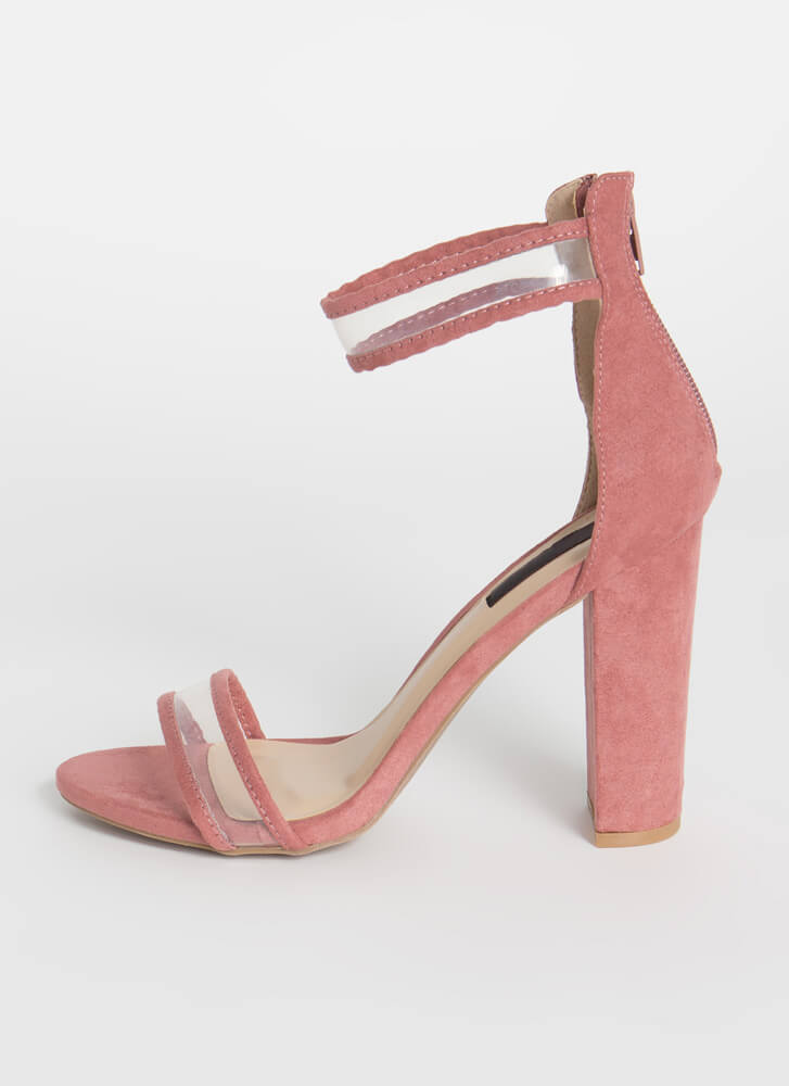 Clearly Beloved Piped Trim Chunky Heels DUSTYROSE