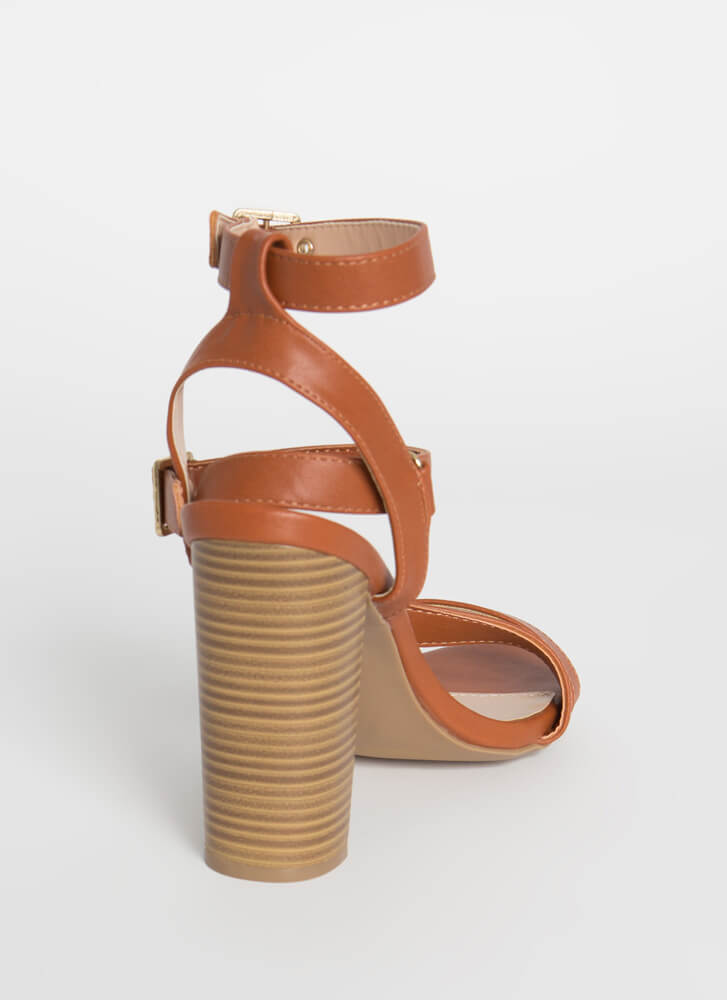 Keep Me Strappy Caged Chunky Heels WHISKY