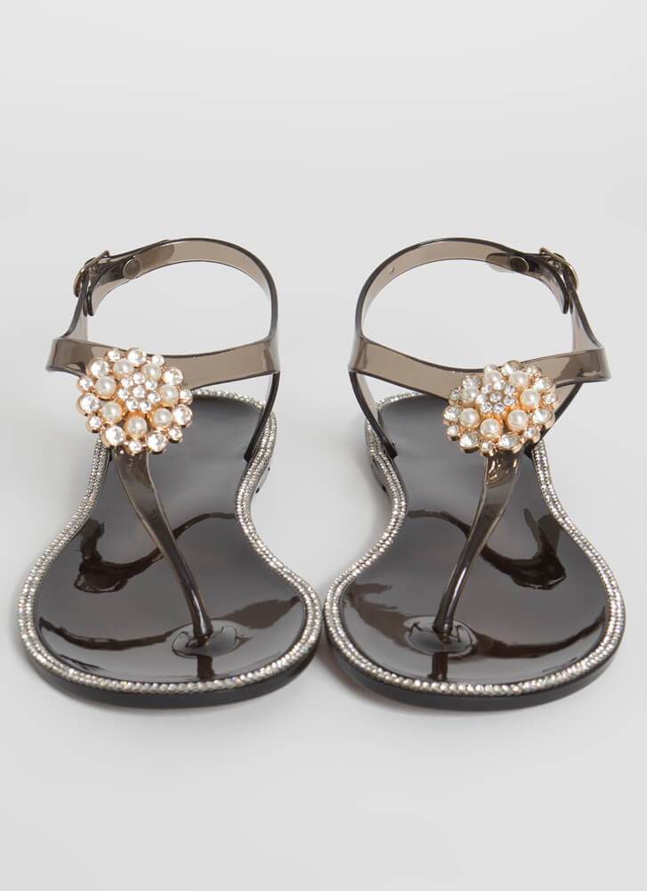 Pearl Dive Jeweled Jelly Thong Sandals BLACK
