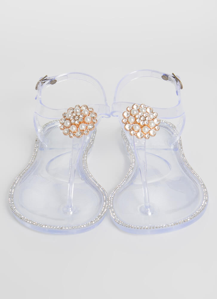 Pearl Dive Jeweled Jelly Thong Sandals CLEAR