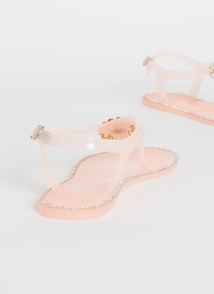 Pearl Dive Jeweled Jelly Thong Sandals NUDE