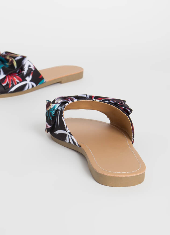 Bow On Vacation Tropical Slide Sandals BLACK