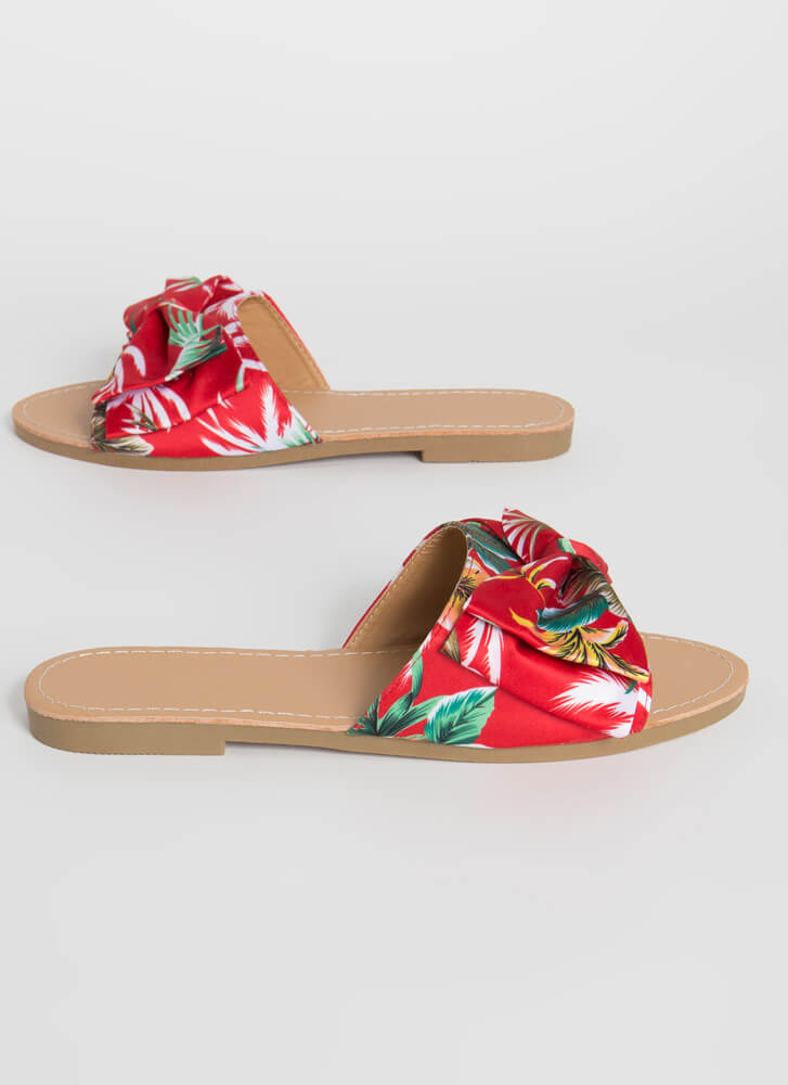 Bow On Vacation Tropical Slide Sandals RED