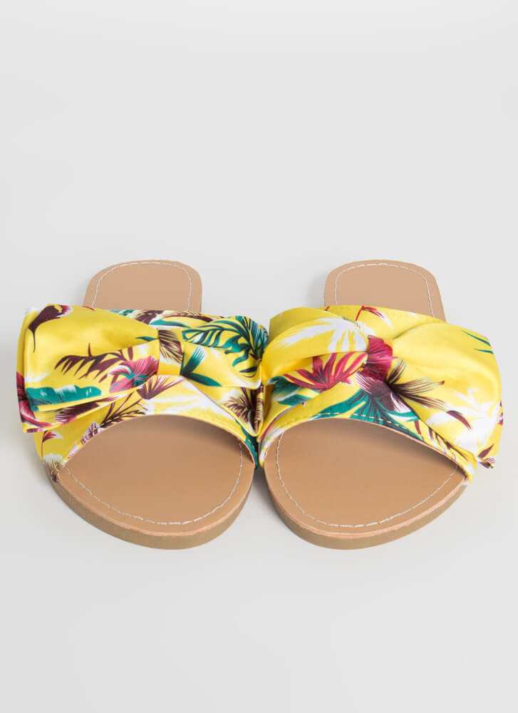 Bow On Vacation Tropical Slide Sandals YELLOW