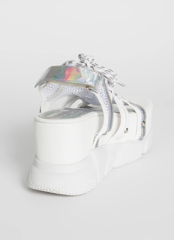 I'm A Big Deal Iridescent Wedge Sandals WHITE