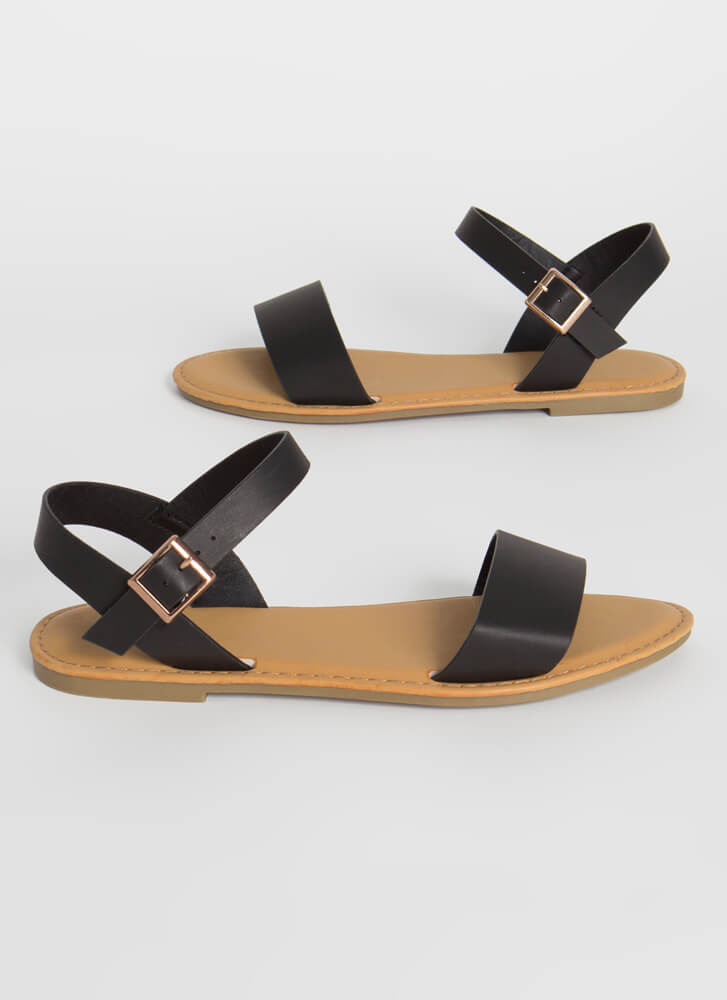 Open-Toe Weather Faux Leather Sandals BLACK
