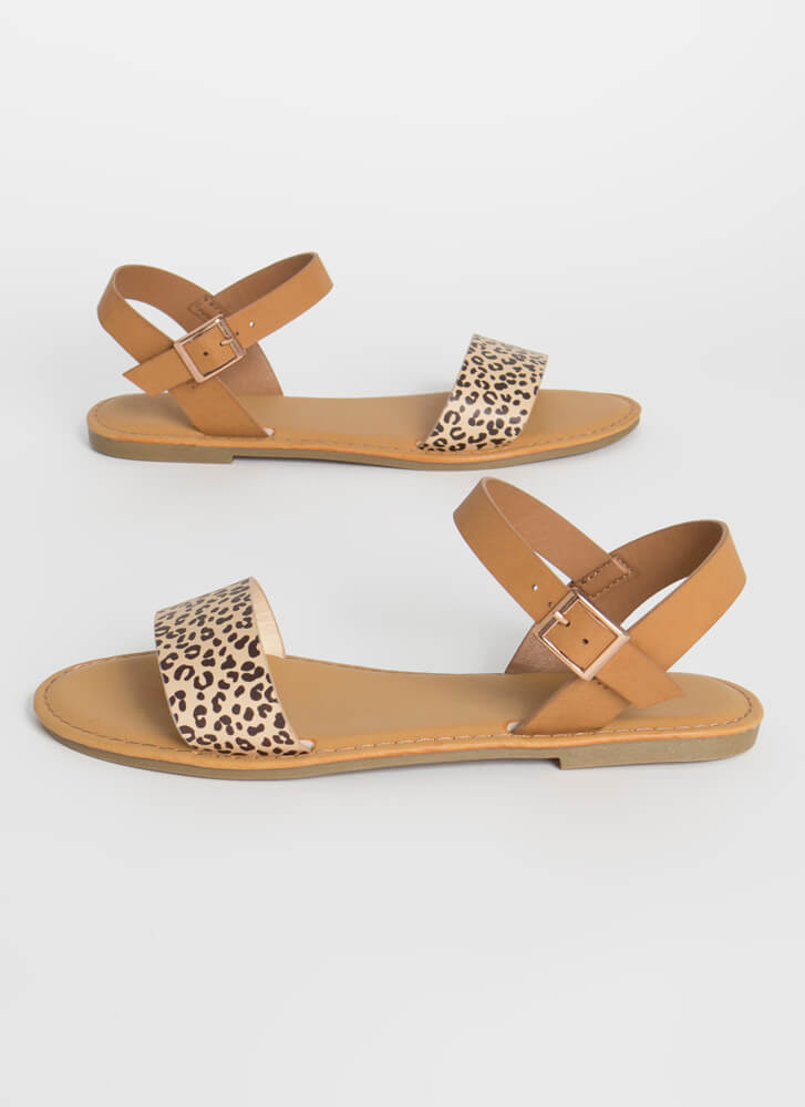 Open-Toe Weather Leopard Strap Sandals CHEETAH