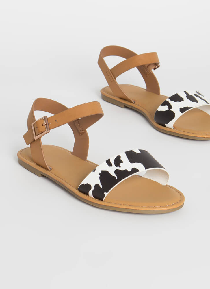 Open-Toe Weather Cow Strap Sandals BLACKWHITE
