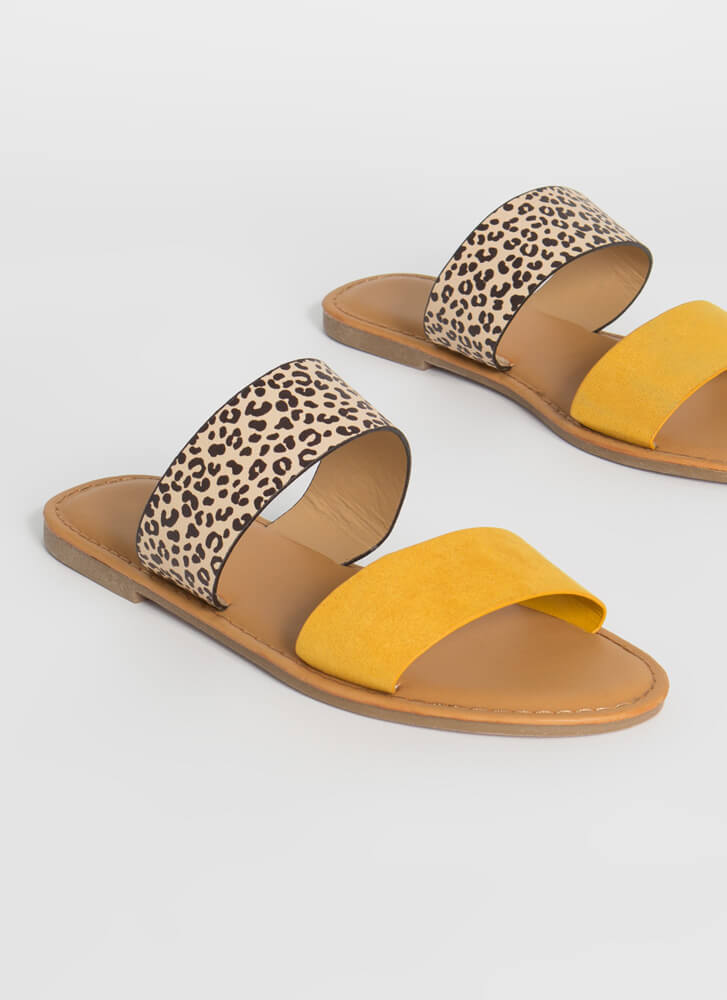 Two Cute Leopard Strap Slide Sandals MARIGOLD