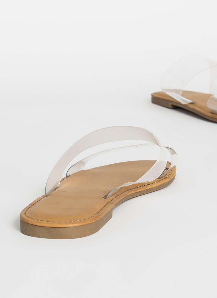 Sun Day Clear Strap Slide Sandals CLEAR