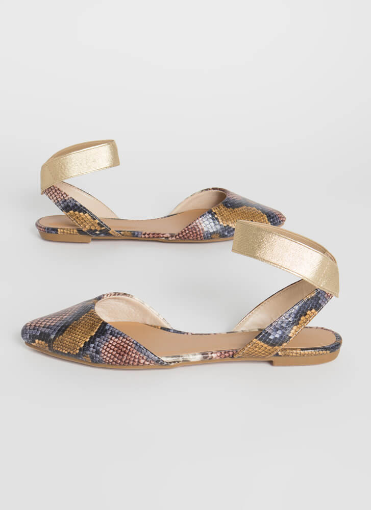 Snake Obsession Pointy Banded Flats CAMEL