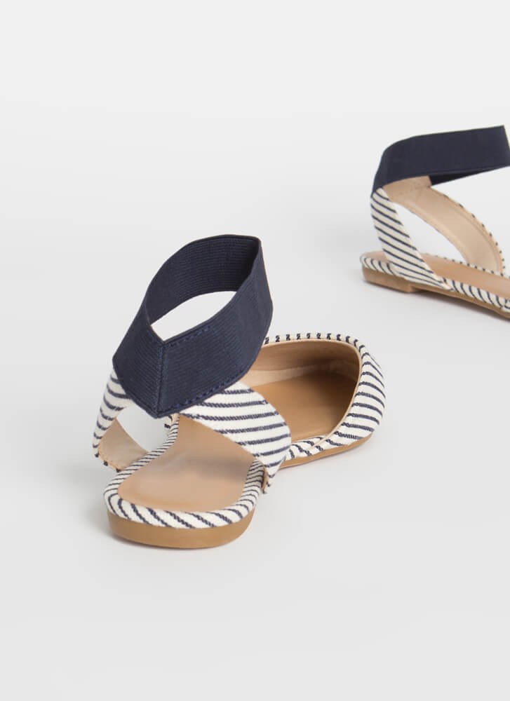 Stripe Obsession Pointy Banded Flats NAVY