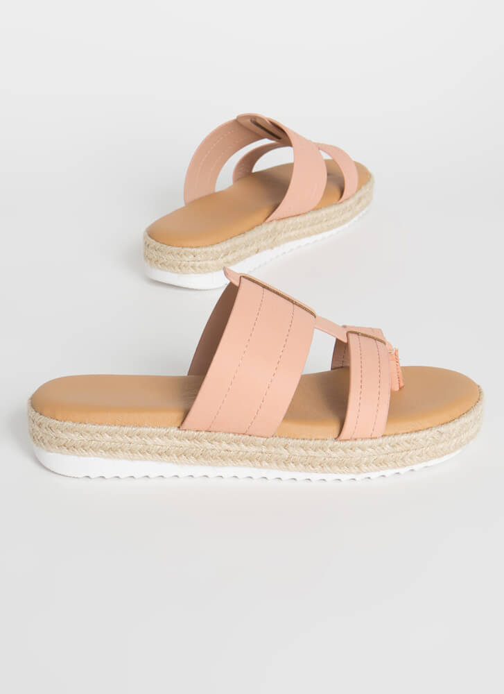 Slide Right In Braided Thong Sandals BLUSH