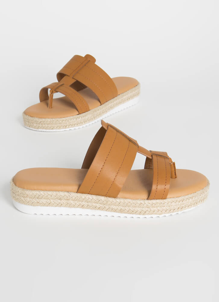 Slide Right In Braided Thong Sandals TAN