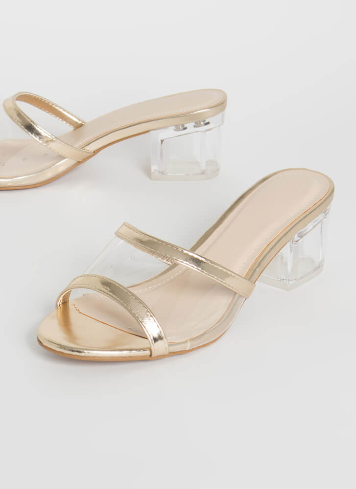 All Clear Metallic Lucite Mule Heels GOLD