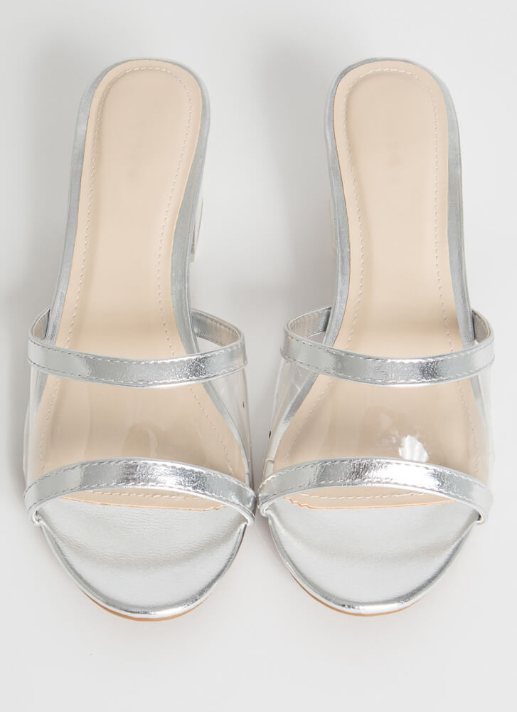 All Clear Metallic Lucite Mule Heels SILVER